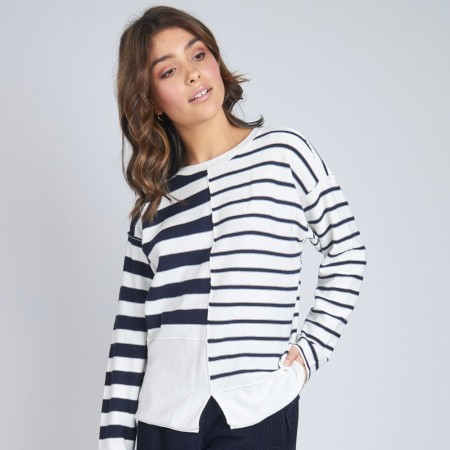 Torju Panel Knit Jumper - Navy Stripe