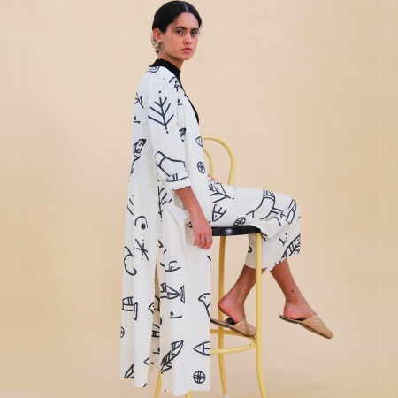 Frank & Dollys Birds Of Passage Linen Duster - White