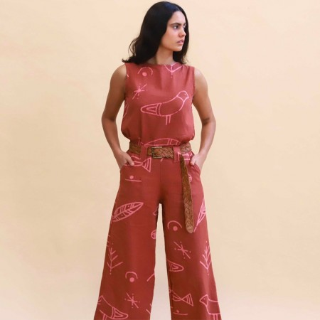 Frank & Dollys Birds Of Passage Linen Pants - Terracotta