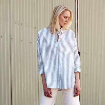 Hemp Clothing Australia Stirling Shirt - Blue Stripe