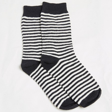 Hemp Clothing Australia Daily Socks - Black/Natural Stripe