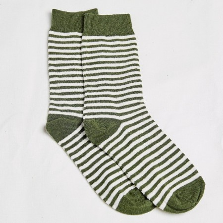 Hemp Clothing Australia Daily Socks - Olive/Natural Stripe