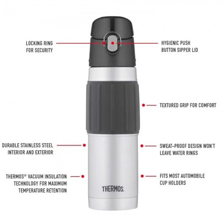 Thermos Vacuum Insulated Hydration Bottle with Flip Lid 530ml - Matte Steel