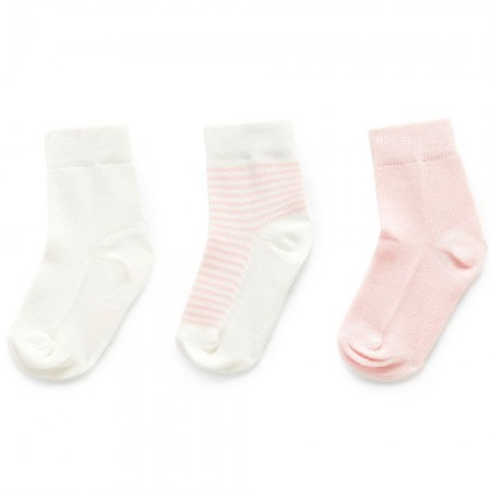 Purebaby Organic Cotton Socks 3pk - Pale Pink