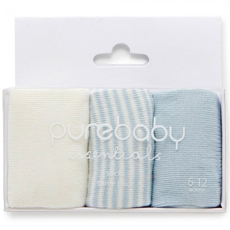 Purebaby 3 Sock Pack - Pale Blue