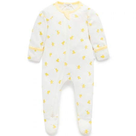 Purebaby Organic Cotton Zip Growsuit - Chirp