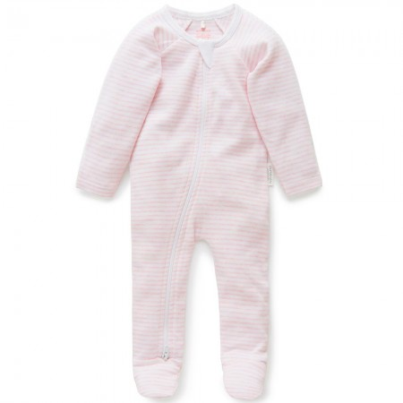 Purebaby Organic Cotton Zip Growsuit - Pale Pink Melange Stripe
