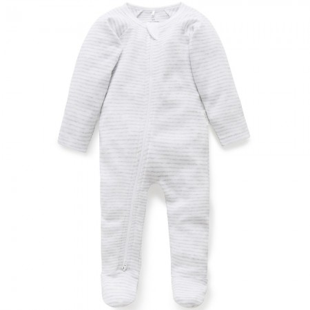 Purebaby Organic Cotton Zip Growsuit - Pale Grey Melange Stripe