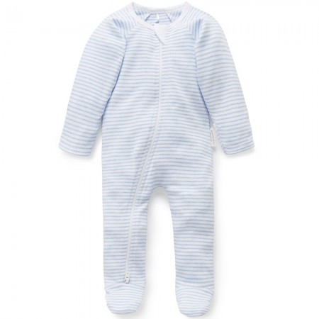 Purebaby Organic Cotton Zip Growsuit - Pale Blue Melange Stripe