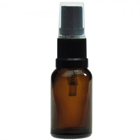 Amber Glass Pharmacy Bottle with Black Atomiser 15ml