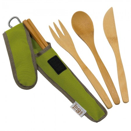 Chico To-Go Bamboo Utensil Set - Green
