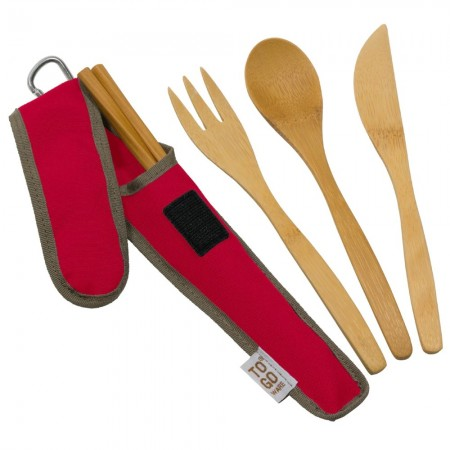 Chico To-Go Bamboo Utensil Set - Red
