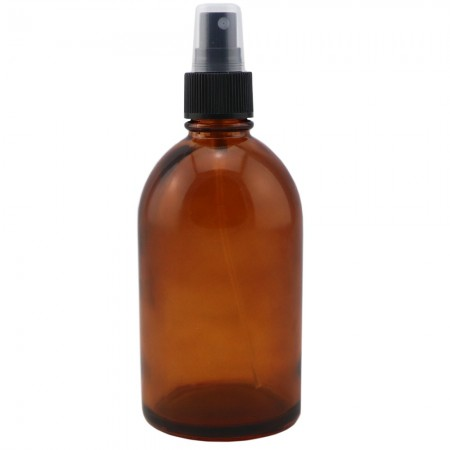Amber Glass Pharmacy Bottle with Black Atomiser 250ml