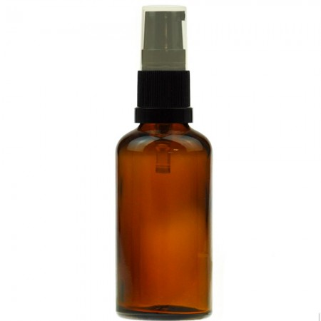 Amber Glass Bottle with Black Serum Pump 50ml