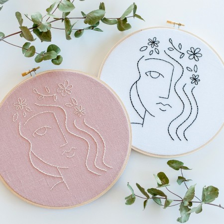 Brynn & Co. Flora Embroidery Kit - Vintage Blush Linen