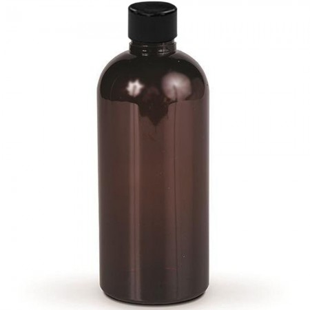 Amber PET Plastic Bottle with Black Screw-cap - 250 ml