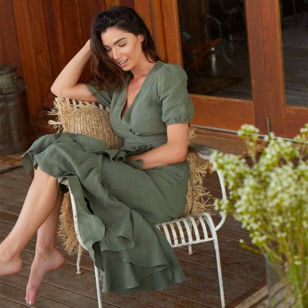 Luna + Sun Mya Linen Dress - Olive