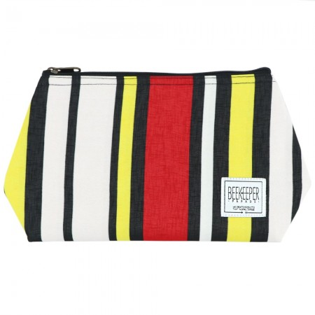 Beekeeper Parade Makeup Bag Large - Red Black Yellow Stripes