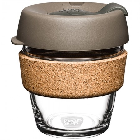 KeepCup XS Glass Cup Cork Band 6oz (177ml) - Latte