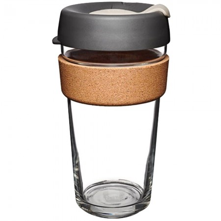 KeepCup Large Glass Cup Cork Band 16oz (454ml) - Press (Dark Grey)