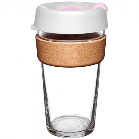 KeepCup Large Glass Cup Cork Band 16oz (454ml) - Hazel