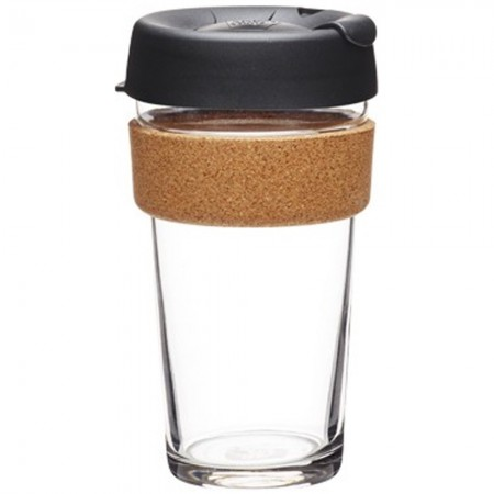 KeepCup Large Glass Cup Cork Band 16oz (454ml) - Espresso