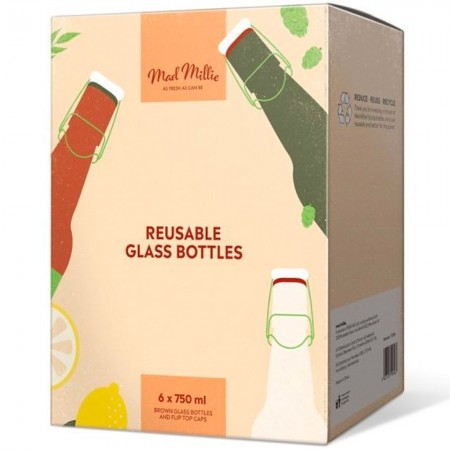 Mad Millie Reusable Brown Glass Flip Top Bottles 6pk 750ml