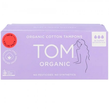 Tom Organic Cotton Tampons Bathroom Pack 32pk - Super