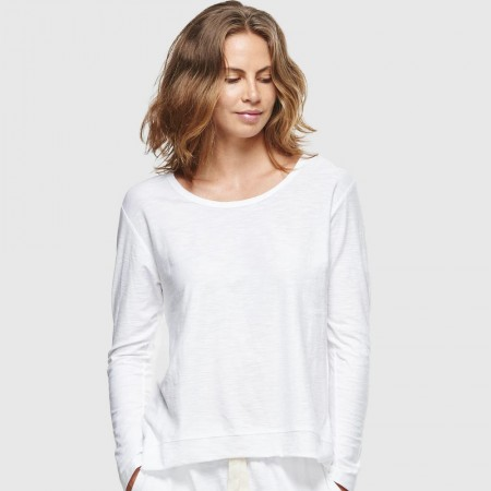 Cloth & Co. Slub Long Sleeve Top - White