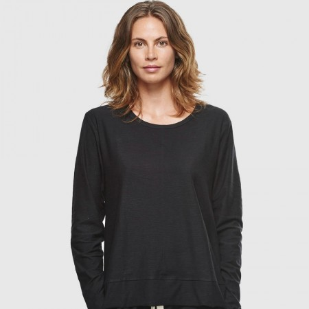 Cloth & Co. Slub Long Sleeve Top - Black