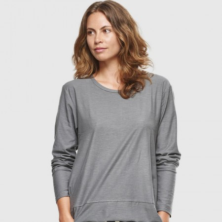 Cloth & Co. Slub Long Sleeve Top - Charcoal