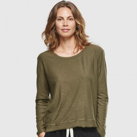 Cloth & Co. Slub Long Sleeve Top - Olive