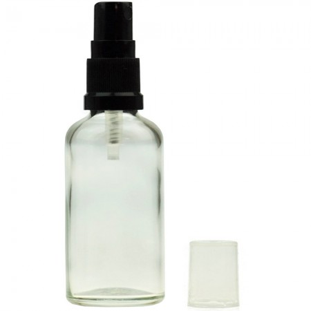 Clear Glass Bottle with Black Atomiser 30ml