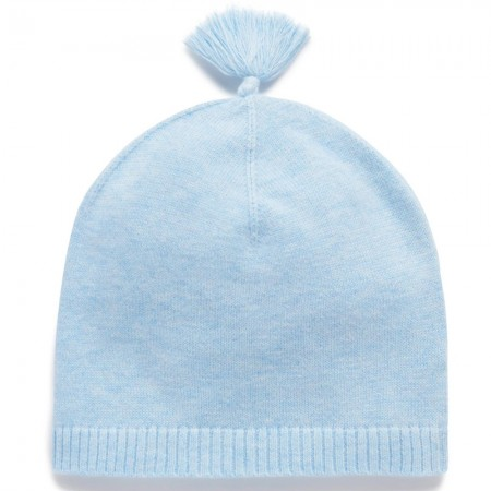 Purebaby Essentials Newborn Beanie - Pale Blue Melange
