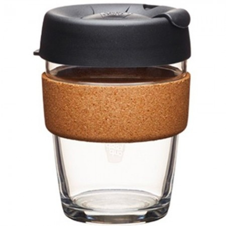 KeepCup Medium Glass Cup Cork Band 12oz (340ml) - Espresso