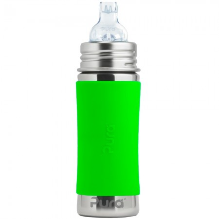 Pura Kiki Stainless Steel Sippy Bottle 325ml - Green