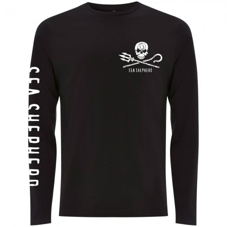 Sea Shepherd Organic Cotton Jolly Roger Long Sleeve Tee - Black