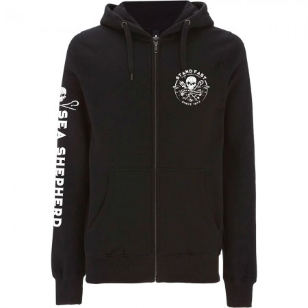 Sea Shepherd Organic Cotton Defenders View Full Zip Hoody - Black
