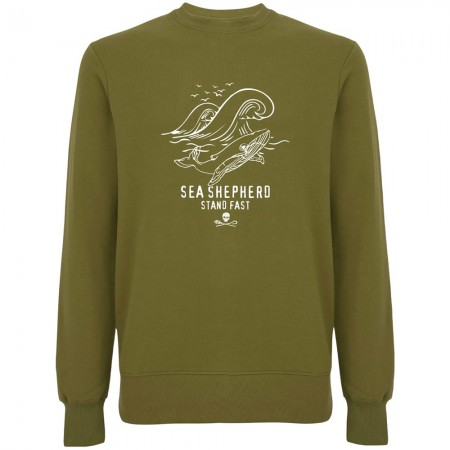 Sea Shepherd Organic Cotton Whale Time Sweater - Khaki