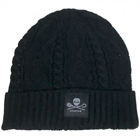 Sea Shepherd Jolly Roger Organic Cotton Cable Knit Beanie - Black
