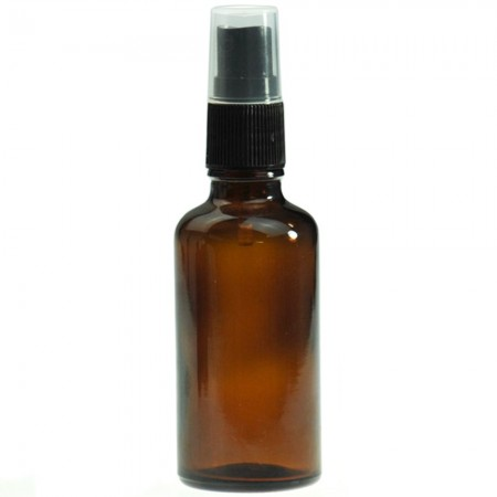 Amber Glass Bottle with Black Atomiser 50ml