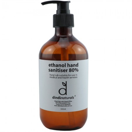 Dindi Naturals Medical Grade Hand Sanitiser 80% Ethanol 500ml - Unscented