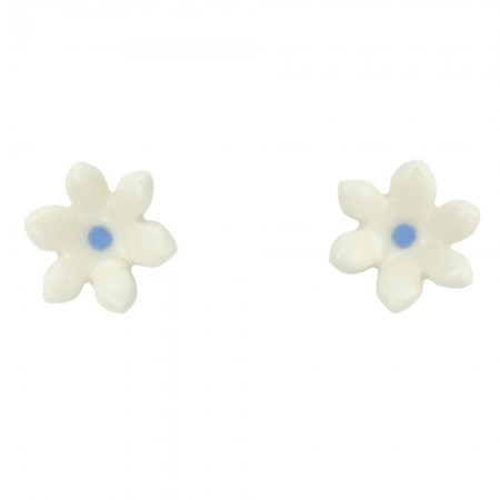 Paper Boat Press Ceramic Daisy Earrings - Blue