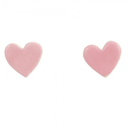 Paper Boat Press Ceramic Heart Earrings - Pink