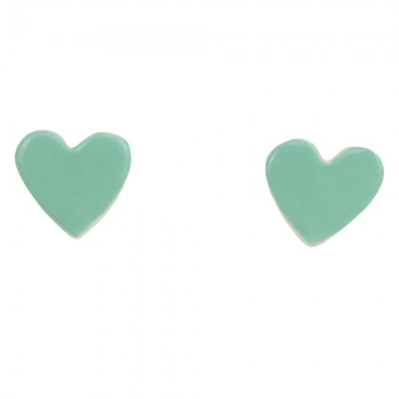 Paper Boat Press Ceramic Heart Earrings - Green