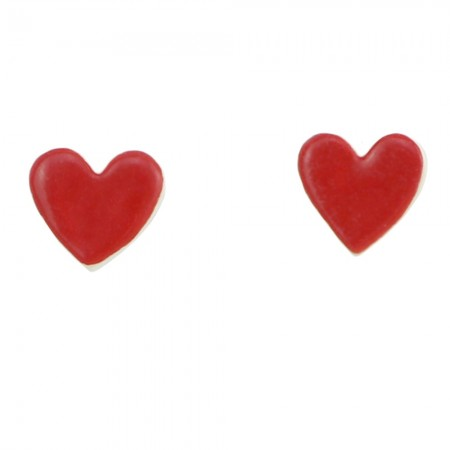 Paper Boat Press Ceramic Heart Earrings - Red
