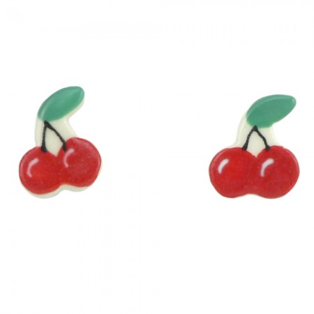 Paper Boat Press Ceramic Earrings - Cherry