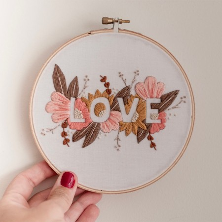 Brynn & Co. Love Embroidery Kit - Soft Pastel