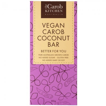 The Carob Kitchen Vegan Carob Bar (Block) 80g - Coconut