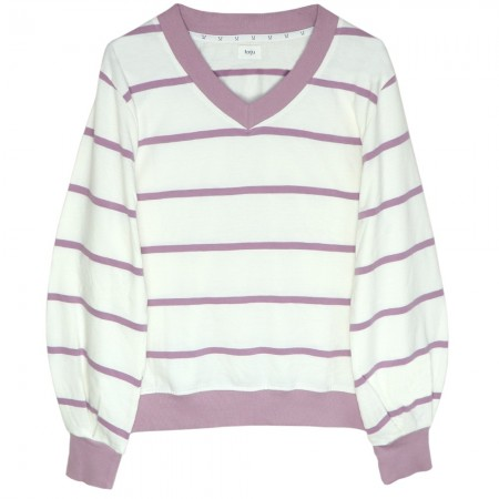 Torju V-Neck Jumper - Violet Stripe